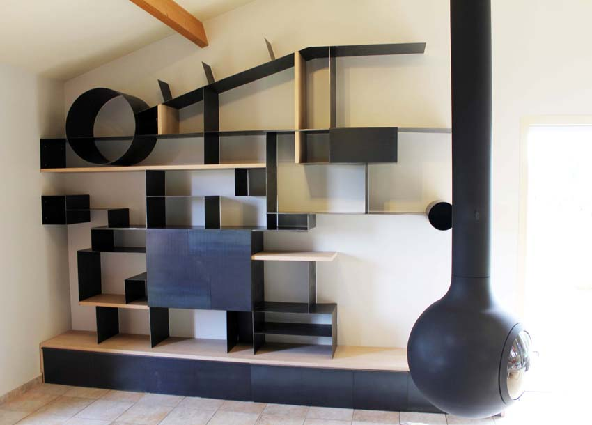 biblioth que contemporaine en t le et h tre thierry. Black Bedroom Furniture Sets. Home Design Ideas