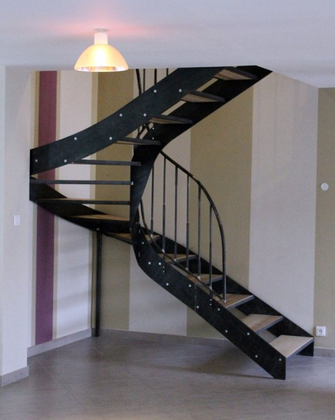 escalier métal/frène